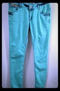 SUPERDRY Powdered Slim Acid Wash Green Jeans 30